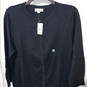 LOFT black button down cardigan sweater Size Large